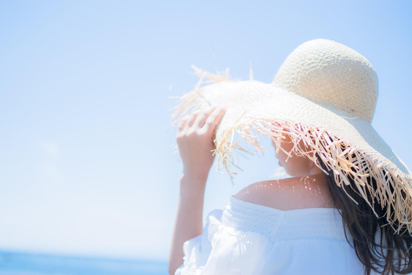日焼け対策麦わら帽子